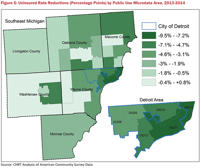 Figure 5: Uninsured Rate Reductions (Percentage Points) by Public Use Microdata Area, 2013-2014
